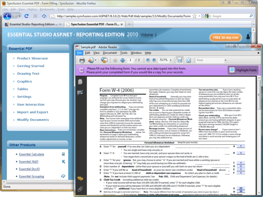 Screenshot of Syncfusion Essential PDF for ASP.NET