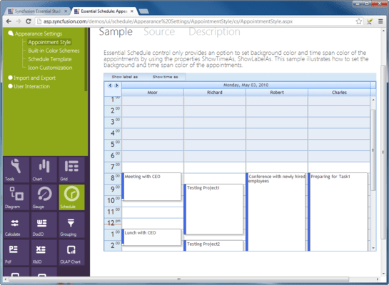 Captura de pantalla de Syncfusion Essential Studio ASP.NET Web Forms