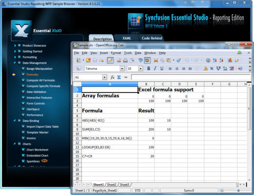 Captura de pantalla de Syncfusion Essential XlsIO for WPF