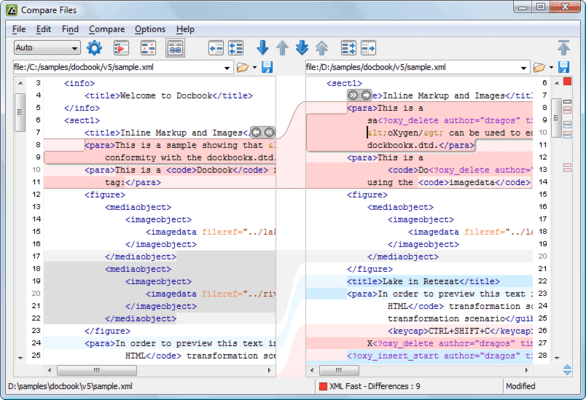 Screenshot of oXygen XML Diff