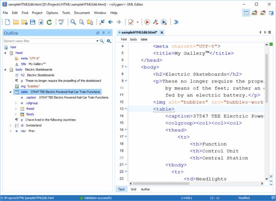 Schermata di Oxygen XML Editor Enterprise