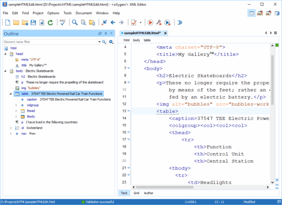 Screenshot of Oxygen XML Editor Professional