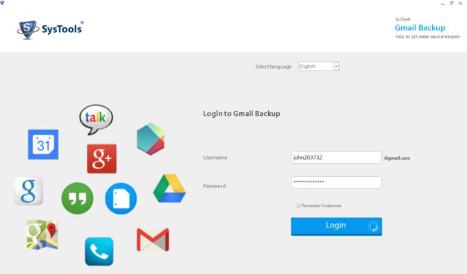Screenshot of SysTools Gmail Backup