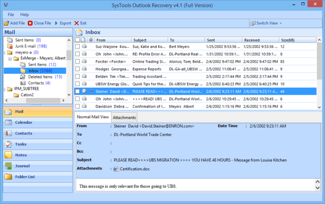 Screenshot of SysTools Outlook Recovery