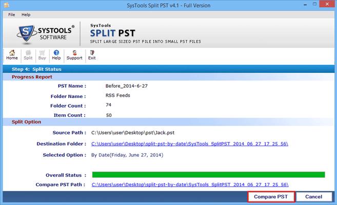 Screenshot of SysTools Split PST