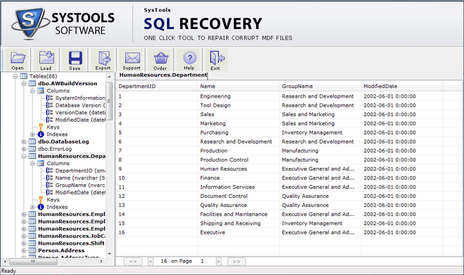Screenshot of SysTools SQL Recovery