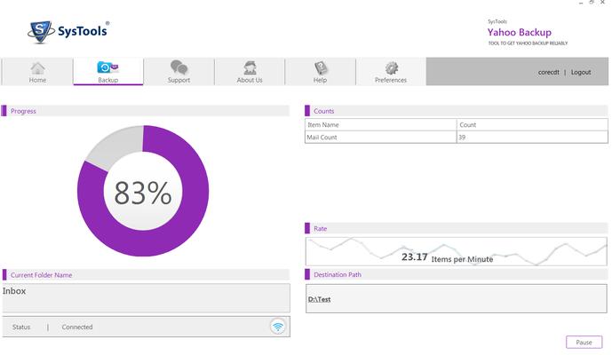 Screenshot of SysTools Yahoo Backup