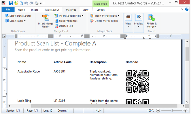 Screenshot of TX Barcode .NET for Windows Forms