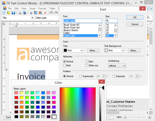Captura de pantalla de TX Text Control ActiveX Professional