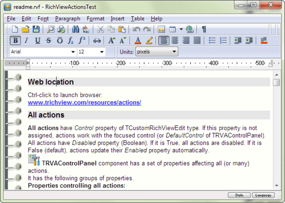 Screenshot of TRichView