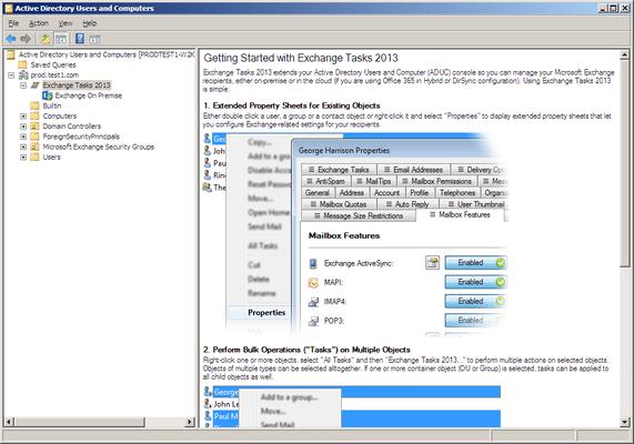 Captura de tela do Exchange Tasks 2013