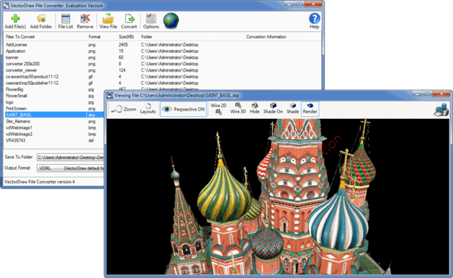 Screenshot of VectorDraw File Converter