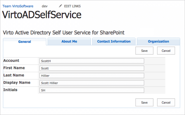 Screenshot of Virto SharePoint AD User Profile Service