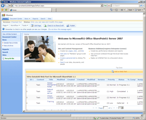 Screenshot of Virto Ajax Data Grid Web Part for SharePoint