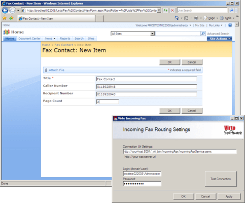 Screenshot of Virto Incoming Fax Service