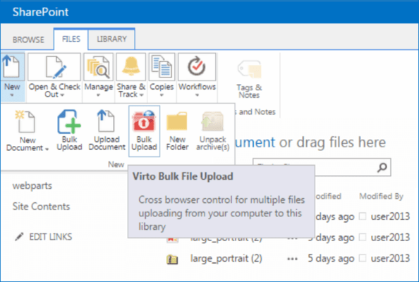 Screenshot of Virto SharePoint Bulk File Upload Web Part