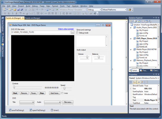 Screenshot of Media Player SDK .Net
