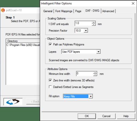 Screenshot of pdf2cad