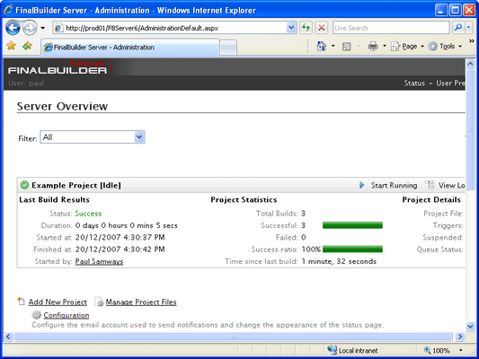 Screenshot of FinalBuilder Server