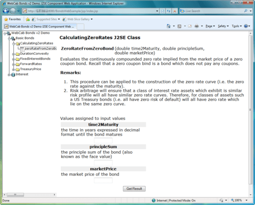 Screenshot of WebCab Bonds (J2EE Edition)