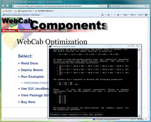 Screenshot of WebCab Optimization (J2EE Edition)