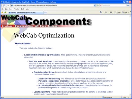 WebCab Optimization for .NET (英語版) のスクリーンショット