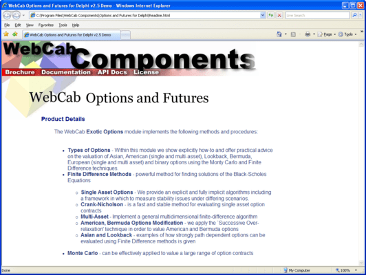 WebCab Options and Futures for Delphi (英語版) のスクリーンショット