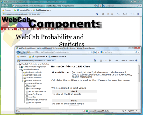 WebCab Probability and Statistics (J2EE Edition) のスクリーンショット