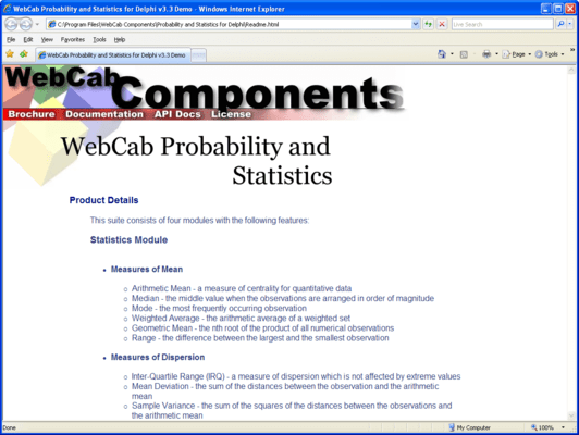 WebCab Probability and Statistics for .NET (英語版) のスクリーンショット