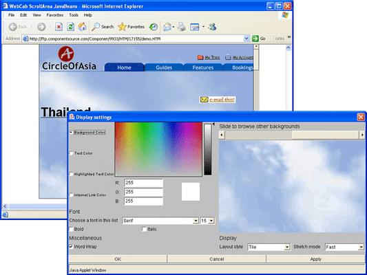 Screenshot of WebCab ScrollArea