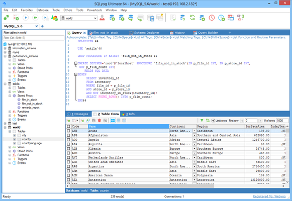 Screenshot of SQLyog
