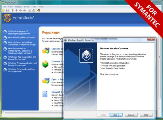 Screenshot of AdminStudio for Symantec - Professional Edition
