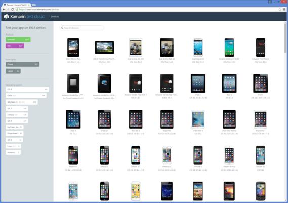 Screenshot of Xamarin Test Cloud