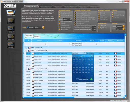 Features of Xceed DataGrid for WPF UX Edition