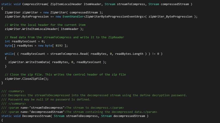 Schermata di Xceed Real-Time Zip for Xamarin