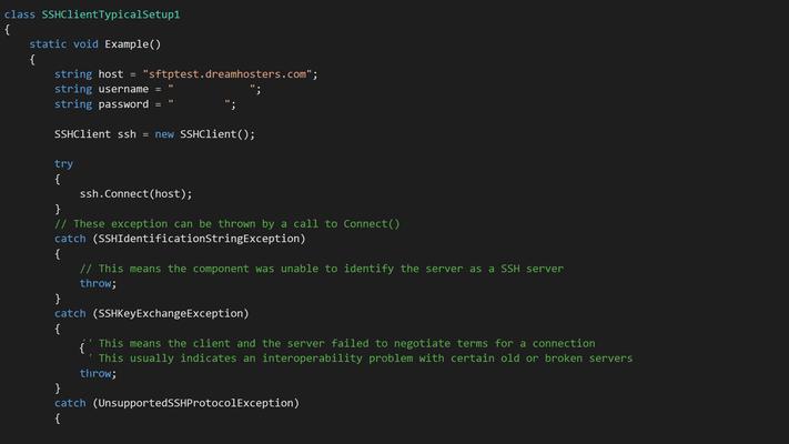 Schermata di Xceed SFTP for Xamarin