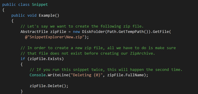 Screenshot of Xceed Zip for Xamarin