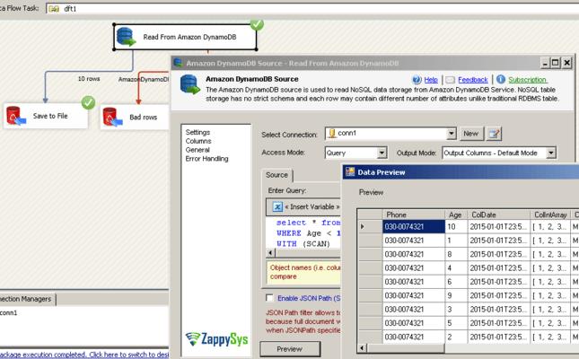 SSIS Amazon DynamoDB Integration Pack