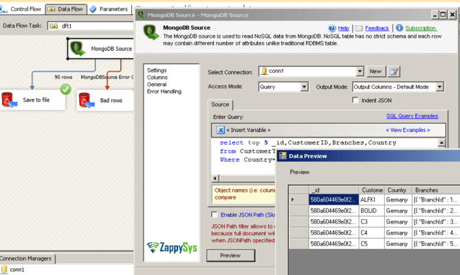 SSIS MongoDB Integration Pack のスクリーンショット