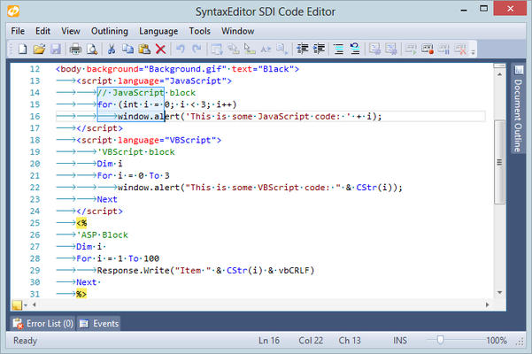 Actipro SyntaxEditor for WinForms Features