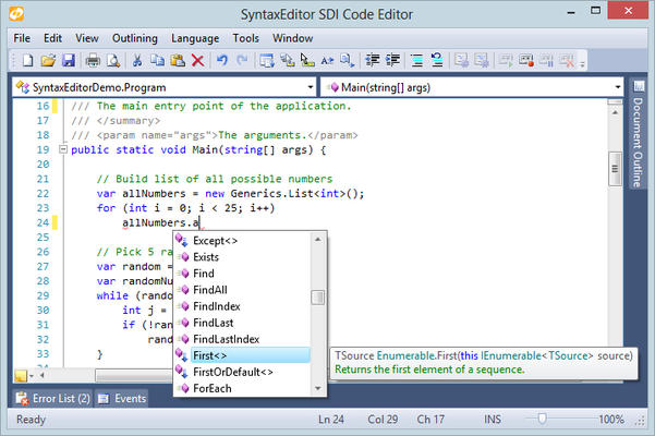 <strong>Make coding quicker and easier with IntelliPrompt popups.</strong><br /><br />