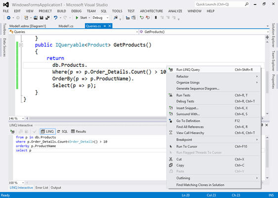 LINQ Insight seamlessly integrates into Visual Studio.
