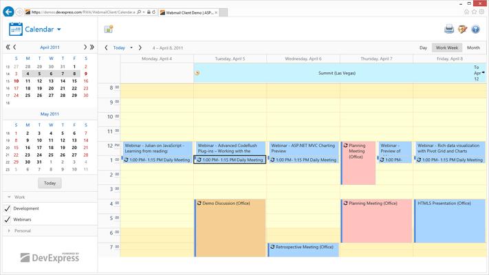 Outlook inspired scheduler & calendar.