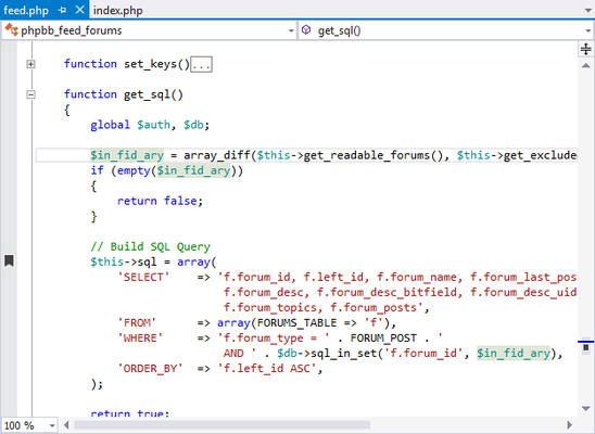 <strong>Visual Studio editing experience for PHP.</strong><br /><br />