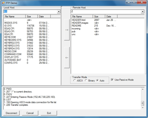 <strong>Transfer files via FTP servers. Easy, plug &amp; play, extensible interface.</strong><br /><br />