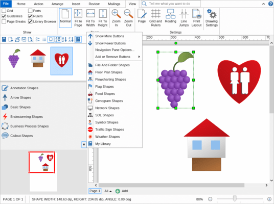 Includes predefined libraries of diagram shapes and symbols.