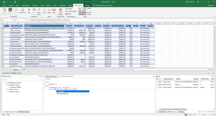 Use SQL on Excel tables.