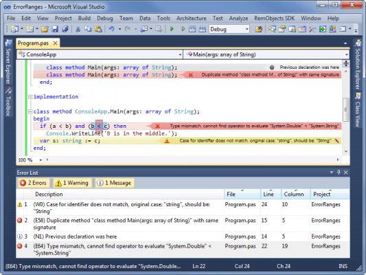 <strong>Oxygene - Be more productive with inline error reporting.</strong><br /><br />