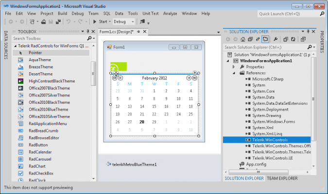 Telerik RadControls for WinForms Features