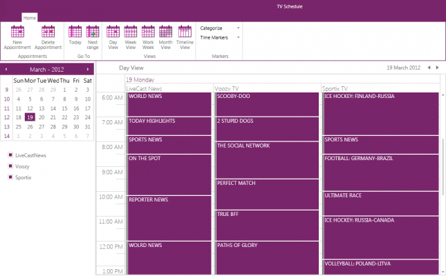 <strong>RadScheduleView gives precise, flexible appointment display.</strong><br /><br />